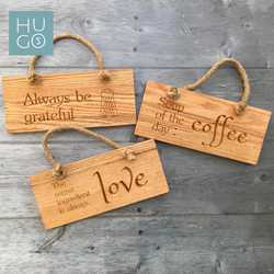 Solid Oak Engraved Rope Hanging Signs