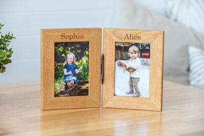 Personalised Engraved Double Oak Frames 2