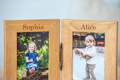 Personalised Engraved Double Oak Frames 3