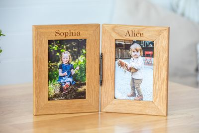 Personalised Engraved Double Oak Frames
