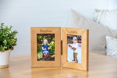 Personalised Engraved Double Oak Frames 4