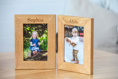 Personalised Engraved Double Oak Frames 5