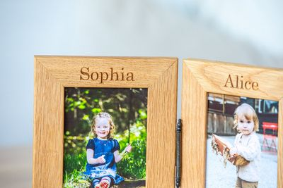 Personalised Engraved Double Oak Frames 6