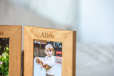 Personalised Engraved Double Oak Frames 7