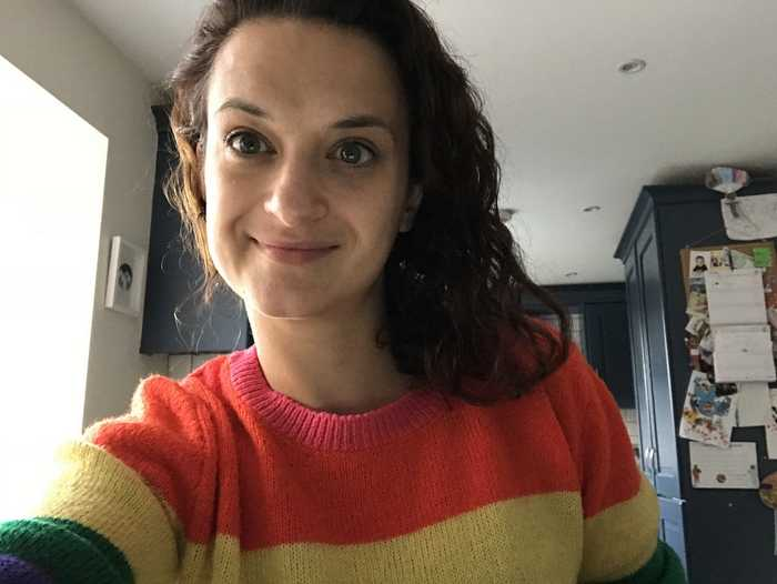 A selfie of me taken as I write this blog! (I hate selfies but I wanted to show you the jumper!)